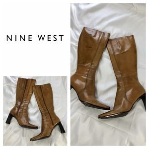 Nine West Leather Knee High Brown Boots